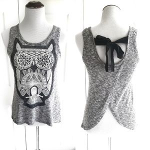 Blu Planet Bow Open Back Owl Gray Tank Top